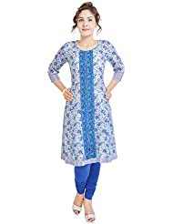 Beautiful Cotton Printed White&Blue Color Kurti