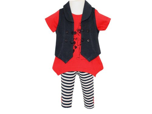 Togs By Teddy Baby Girls Waistcoat, Dress Top & Leggings Outfit - 18-24 Months