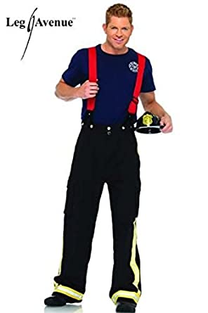 Leg Avenue Men's 3 Piece Fire Captain Pants With Reflective Trim And T-Shirt Suspenders, Black/Red, X-Large