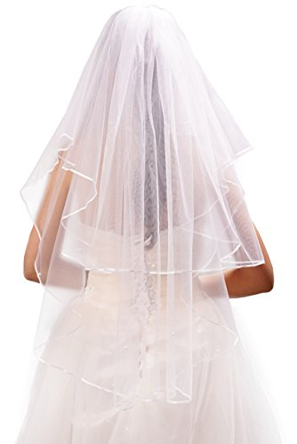 Deceny CB Wedding Veil White 2 Tier Ribbon Edge Bridal Veil with Comb
