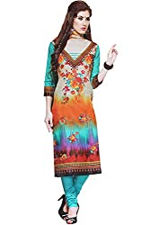 Majaajan Women's Cotton Self Print Unstitched Salwar Suit Ethnic Dress Material (PRT1903, Blue and Orange, Freesize)