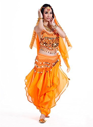 Dreamspell 2014 Professional Orange Belly Dance Set Best Stage Show Wear