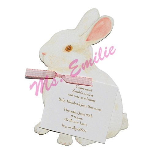 White Bunny Die-Cut Card, Pack Of 10 front-947701