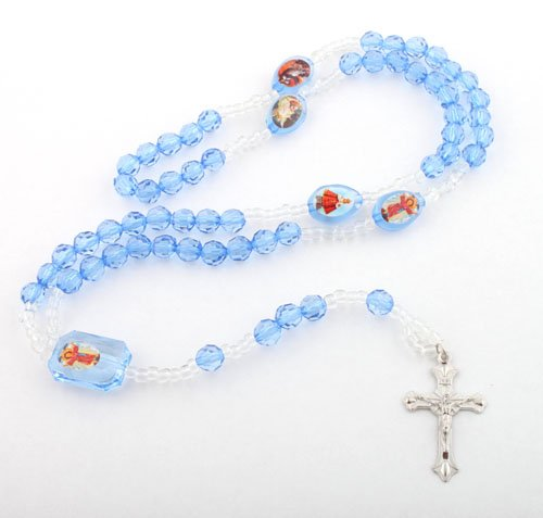 Transparent Blue Jesus Rosary Cross Pendant & Mother Mary with a 36 Inch Beaded Chain Necklace