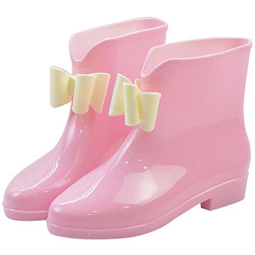 Da donna impermeabile in gomma antiscivolo Rain Boot Fibbia Caviglia Alta pioggia Scarpe, donna, Green Bowknot, 6 B(M) US