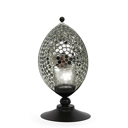 @Home Glossy Mosaic Metal Candle Holder (12.5 Cm X 12.5 Cm X 26.01 Cm, Gold)