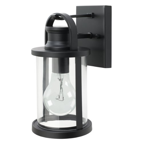 Globe Electric 43532 11.5 Inch Outdoor Wall Lantern Light Fixture, Black Finish With Clear Glass Shade