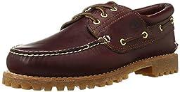 Timberland Men\'s 50009 Authentics 3-Eye Classic Lug Boat Shoe, Burgundy/Brown,9.5 M