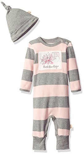 Burt's Bees Baby Girls' Organic Convertible Foot Coverall and Knot Top Hat Set, Blossom Thermal, 3-6 Months (Baby Thermal Bodysuits compare prices)