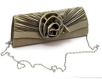 Damen Handtasche Clutch mit exquisiter Blumenverzierung - Aus edlem Satin und Samt - Im modernen Olivgün - Magnetverschluss