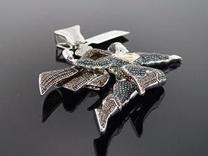 Designer Hip Hop Men's Superman Charm Pendant 10k White Gold 5.00ct Diamond SDP-2101CB