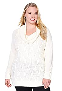 Avenue Women's Waffle Cowlneck Sweater, 14/16 Off White
