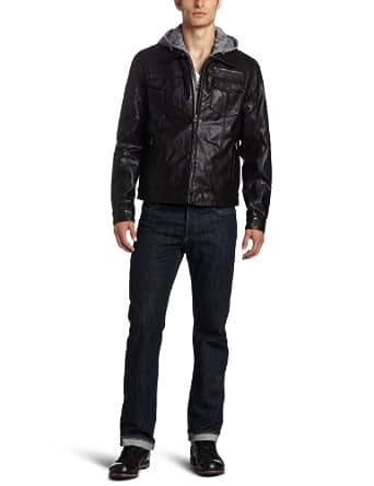 Levi's Men's Faux Leather Trucker Hoodie Jacket, Black, Large