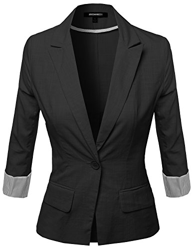 3/4 Sleeve Fabric Blazer Black