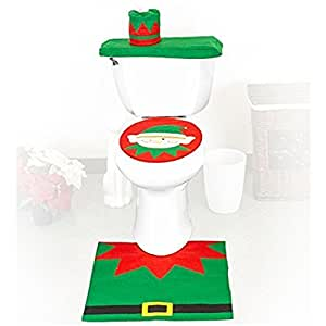 Christmas elf toilet seat cover tank cover xmas decorative - Decorative toilet seat covers ...
