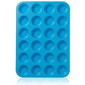 Lucentee® Large Mini Muffin Pans - 24 Cup Jumbo Silicone Pan for Cupcakes and Premium Baking- Non Stick Tray / Bakeware - Silicon Mold, Heat Resistant up to 450°F - Dishwasher and Microwave Safe - Blue