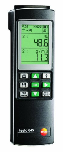 Testo 0560 6450 ABS Professional Humidity and Temperature Meter, Alkali Manganese Battery, LCD Display - 1