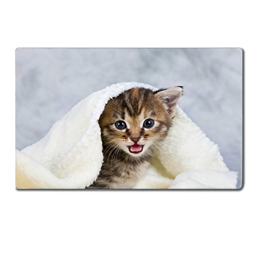 Luxlady Large Gaming Mousepad Kitten closed in towel warm sleepy small white IMAGE 20821242 24 x 15 x 0.2 inches Low Friction Tracking Surface League of Legend Dota 2 WOW Custom
