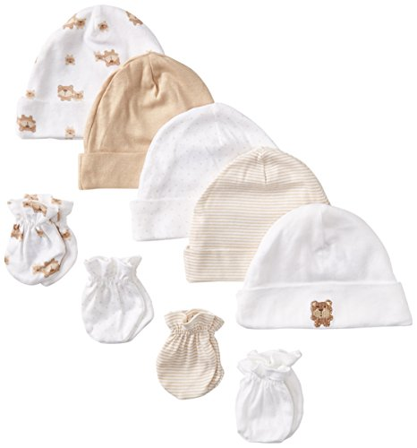 Gerber Unisex-Baby Newborn Bears Caps and Mitten Bundle, Bears, New Born (Pack of 5 and 4) (Newborn Cap compare prices)