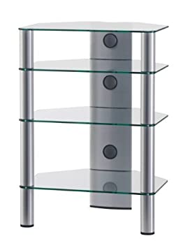 SONOROUS RX-2140 C-SILVER - Mobile per HIFI in vetro ed alluminio, con 4 ripiani separati. Colore: Transparente / Argento
