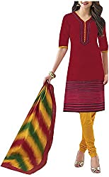PRANJUL Women's Cotton Unstitched Dress Material (Red)