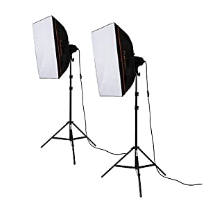 PhotoSEL LS21E52 Softbox Studio Lighting Kit - 2 x 85W 5000lm 5500K 90+ CRI Bulb 40x60cm Softbox