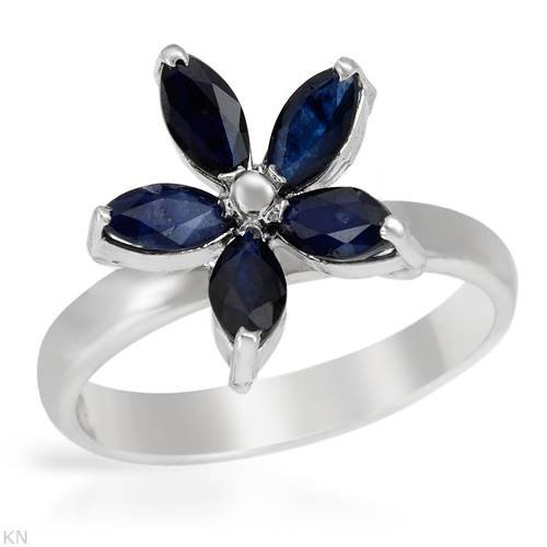 Ring With 1.50ctw Genuine Sapphires Made of 925 Sterling silver (Size 8)