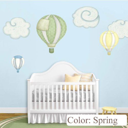 Hot Air Balloon Decals & Cloud Wall Stickers For Baby Room Nursery (Spring) front-3089