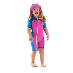 infant size S sun UV Protection One-Piece Pink/Blue Swimsuit SPF+50 Age 6-12 Month