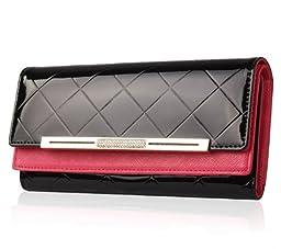 Eonice Luxury Diamond Pattern Double Layer Women Wallet Cow Leather Wallet Women Purse Black