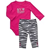 "Carters Girls 2 Piece Hot Pink/Black Pants Set ""My (heart) Belongs to Daddy)"