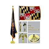 Maryland 4ft x 6ft Flag telescoping Flagpole Base and Tassel