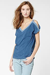 Short Sleeve Indigo Jersey T-Shirt With Cut-Out Shoulder