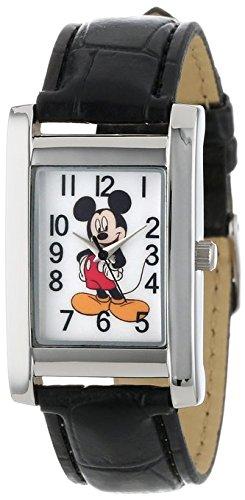 Disney Mickey Mouse Women's MCK835 Silver Rectangular Case Black Strap Watch