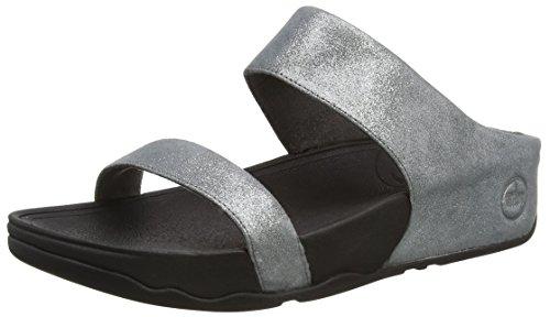 Fitflop Lulu Shimmersuede Slide, Sandali a Punta Aperta da Donna, Colore Grigio (Pewter 054), Taglia 5 UK (38 EU)