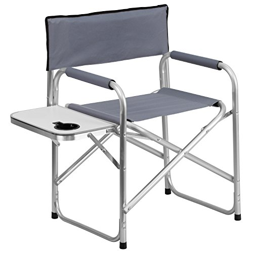 Aluminum Folding Camping Chair with Table and Drink Holder in Gray