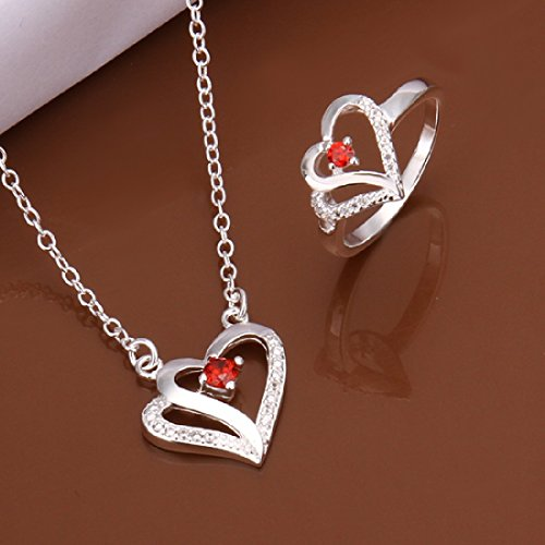 Hot Sale Wedding Fashion 925 Silver Plated Jewelry Set Necklace Ring With Two Hearts Cross Red Zircon