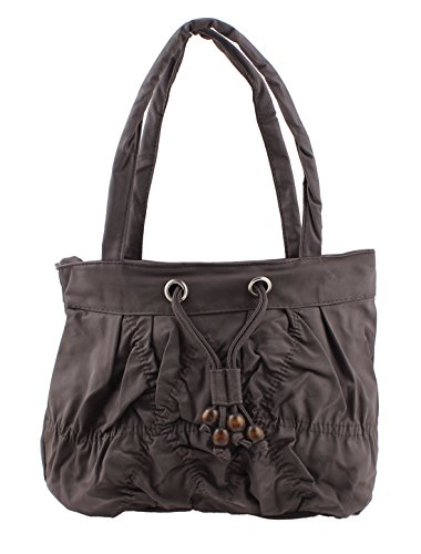 Faux Leather Women Zippered Crepe Rope Adjustable Handbag Coffee Color