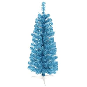 #!Cheap 3' Pre-Lit Sparkling Sky Blue Pencil Artifical Christmas Tree - Blue Lights