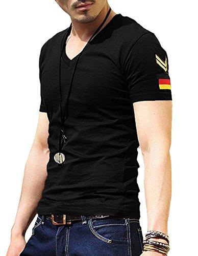 (ガン フリーク) GUN FREAK タクティカル Tシャツ 半袖 ミリタリー サバゲー ドイツ パッチ Vネック ( XL , ブラック )