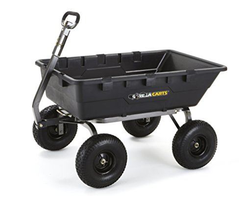 Gorilla Carts Extra Heavy-Duty Poly Dump Cart with 2-in-1 Convertible Handle with a Capacity of 1500 lb, Black (Wheelbarrow 10 Cubic Feet compare prices)
