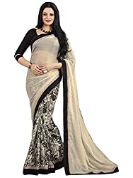 Exclusive Off-White And Multicolor Weightless Material Printed Saree With Blouse
