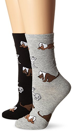 K. Bell Women's Cone Dogs Crew Socks 2-Pack, Gray Heather/Black, 9-11 (Dog Cone Socks compare prices)