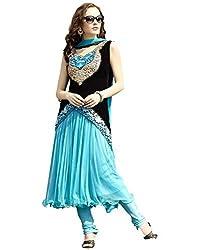 Meghalya Women's Georgette Dress Material (TRD_NSBlueDress _Blue)