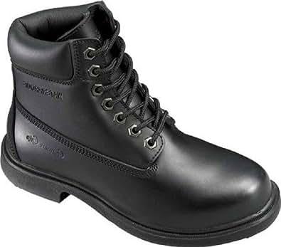Genuine Grip Footwear Women's Slip-Resistant Waterproof Boot,Black Leather,US 10 W