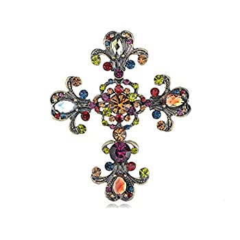 Alilang Cross Antique Inspired Gorgeous Rhinestones Costume Brooch Pendant