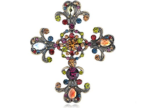 Alilang Cross Antique Inspired Gorgeous Rhinestones Costume Brooch Pendant 0