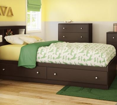 "South Shore Litchi Collection Mates Bed (39""), Chocolate, Twin front-628477"