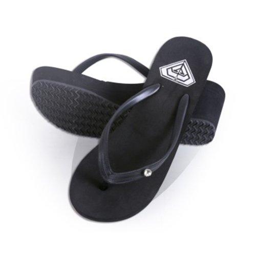 Toptie Women'S Wedge Flip Flop Sandals With Rhinestone Strap, Bride Flip Flop Black-L