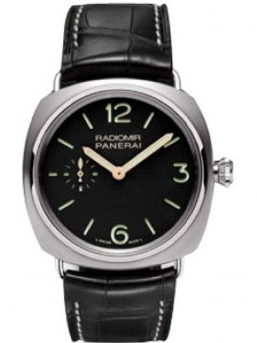Panerai Radiomir Titanium Black Dial Leather Mechanical Mens Watch PAM00338